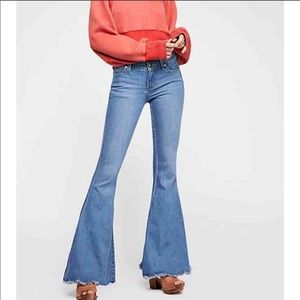 Free People Denim Super Flare Jeans